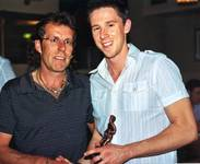 Paul Hardingham receiving his Reserves Manager awa